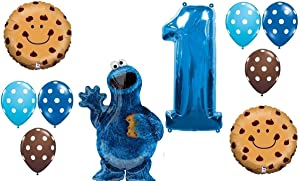 10pc BALLOON set NEW COOKIE MONSTER sesame street PARTY 1st BIRTHDAY first GIFT decor FAVORS chocolate chip