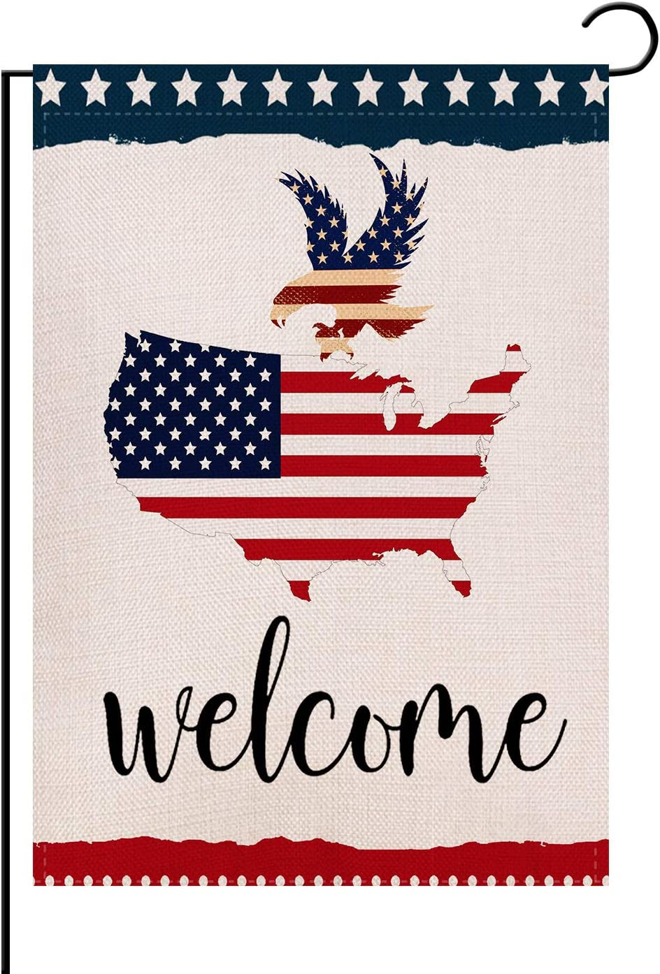 Welcome USA Patriotic Bald Eagle Summer Garden Flag Double Sided 12.5 x 18 Inch,Patriotic Star Independence Day Memorial 4 of July Holiday Decorative