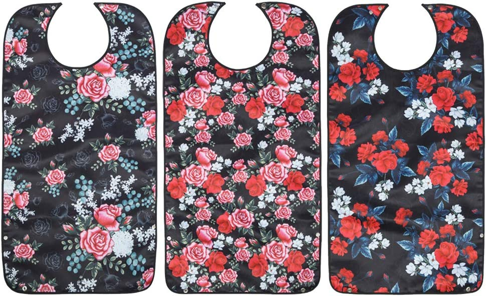 Usmack Adult Bibs, Extra Long Clothing Protector, Washable and Reusable Bibs for Adult Women (3 Pack)