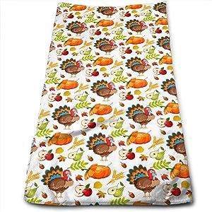 Thanksgiving Turkey Fall Yellow Pumpkin Green Leaves Hand Towels 27.56 X 11.81 Inch Autumn Apple Pear Bath Towel Super Soft Highly Absorbent Kitchen Dish Towel Decor
