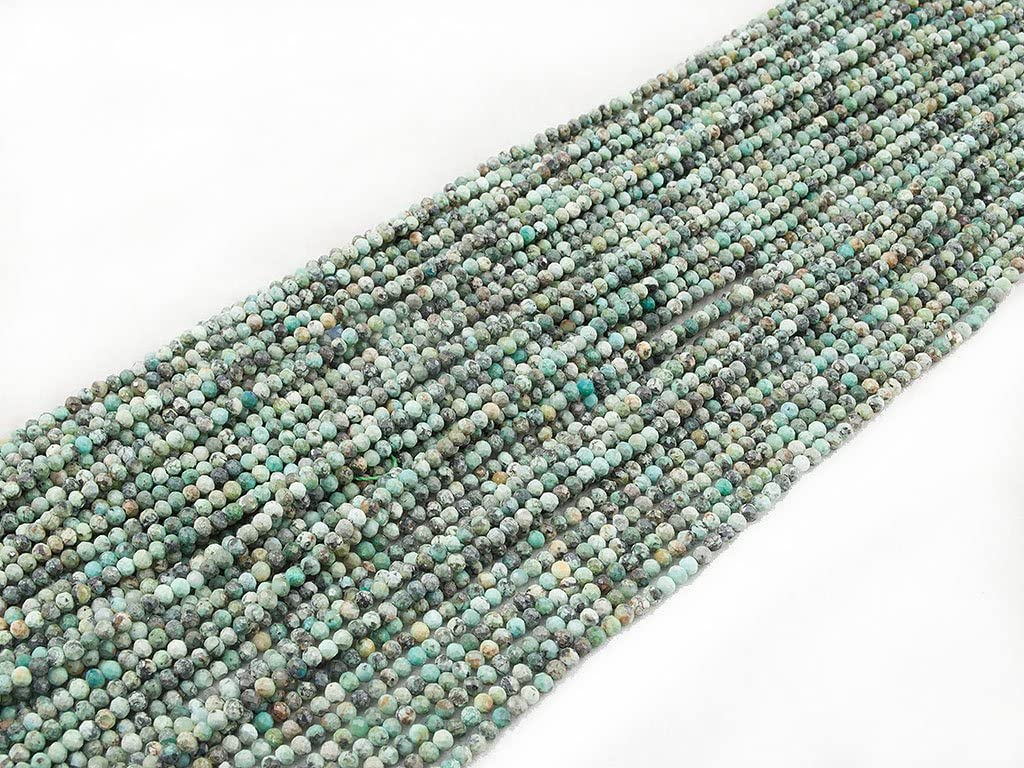 Elegant Facet Round Bead 4mm Abalorio Cuenta Mostacilla o Chaquira De Piedra Semipreciosa Bola Elegante Facetada~40cm un Tira; Africa Turquoise /África Turquesa Naturales Beads Ok Genuino