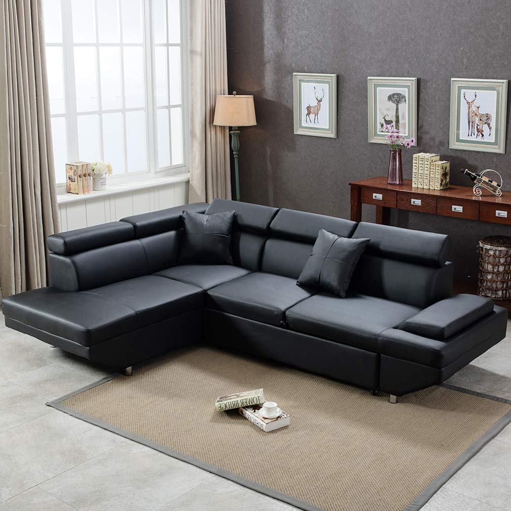 Sectional Sofa India Online: FDW Sectional Futon Modern Contemporary Left Faux Leather