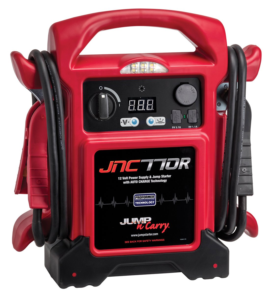 Jump-N-Carry JNC770R 1700 Peak Amp Premium 12-Volt Jump Starter - Red Clore Automotive