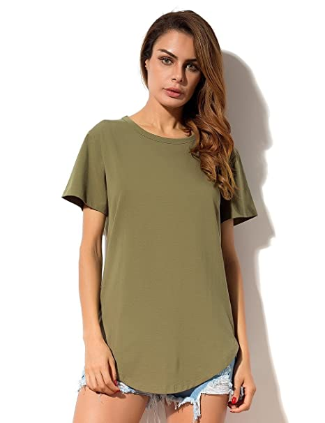 036398500582db MSHING Women's Summer Simple Casual Plain Loose T-Shirt Tops, Army Green,  ...