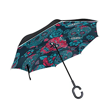 MAILIM - Paraguas Reversible con diseño de Calaveras Florales, Color Azul