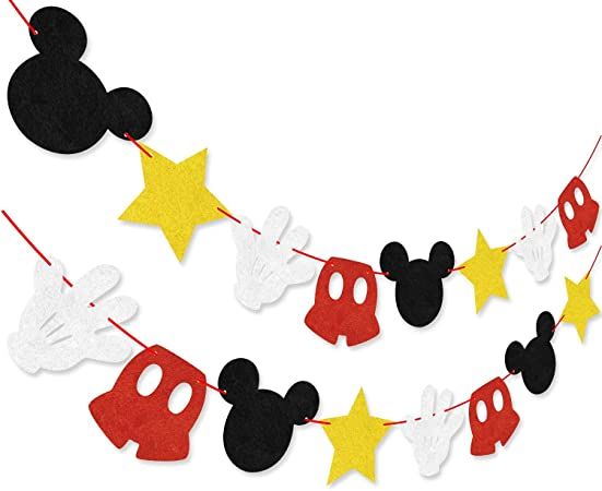 Topolino a Tema Feltro Ghirlanda Festa di Compleanno Banner Decorazione Forniture Topolino Ispirato Cupcake Toppers Hooggle Mickey Mouse Party Decoration Kit