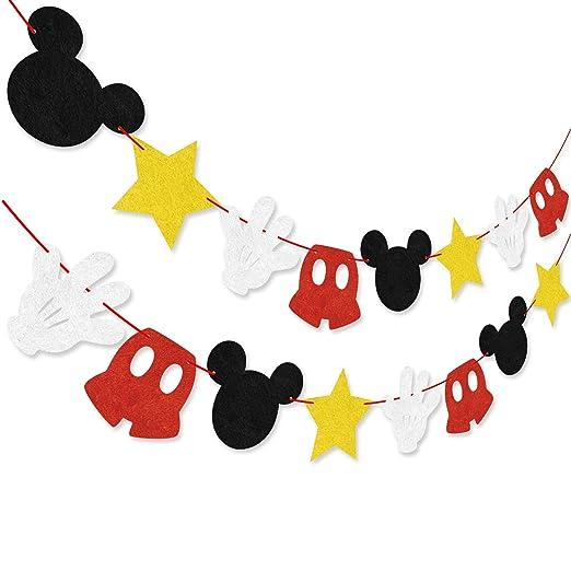 Hooggle Kit de decoración de la Fiesta de Mickey Mouse, Mickey Inspired Cupcake Toppers + Mickey Mouse con Tema de Fieltro Guirnalda Fiesta de ...