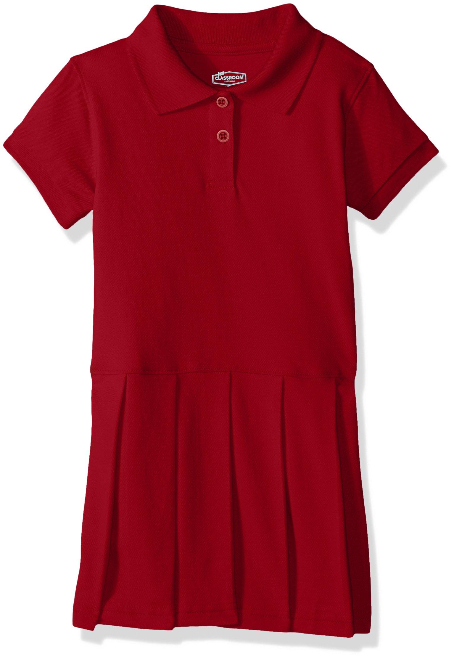 8f2ffb320b203 Galleon - Classroom School Uniforms Girls' Big Pique Polo Dress, Red M