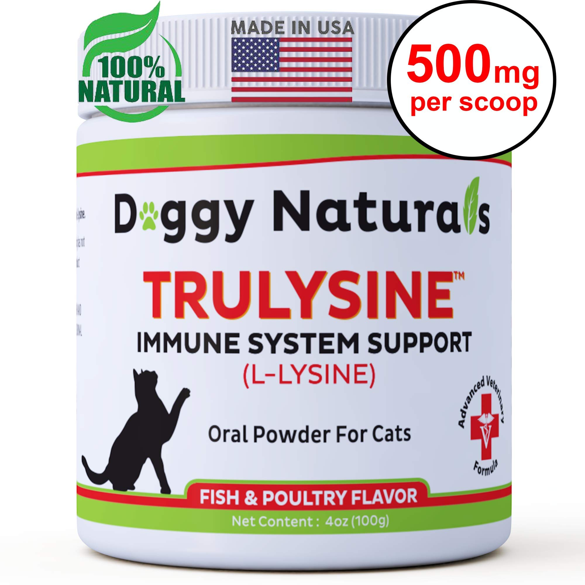 L Lysine for Cats Immune Viralys Support Oral Granule Powder - 500 mg per serving ( 4oz) - Cats & Kittens, Immune Health, Sneezing, Runny Nose,Squinting Palatable Fish & Poultry Flavor L Lysine Powder by Pet Health Pharma