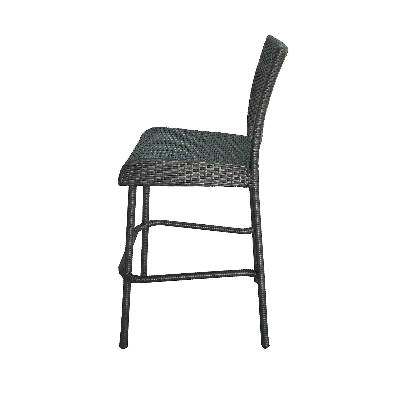 Gray Great Deal Furniture 305812 Jiro Outdoor Wicker Barstool