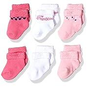 Gerber Baby Girls' 6-Pair Sock, pink princess 3-6 Months