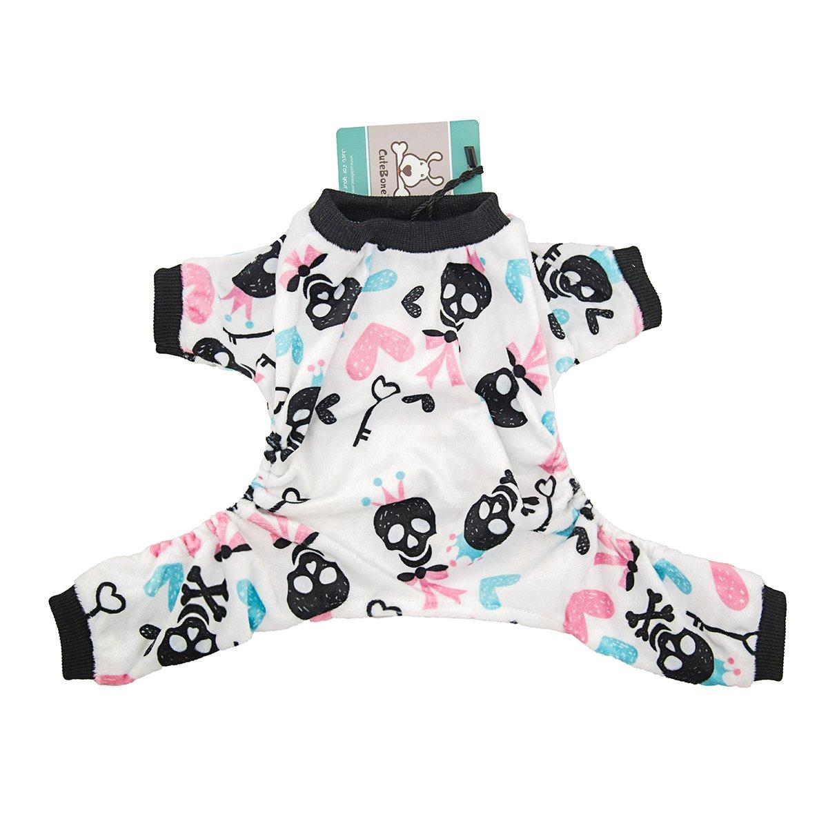 CuteBone Dog Pajamas Skeleton Dog Apparel Dog Jumpsuit Pet Clothes Pajamas P28M
