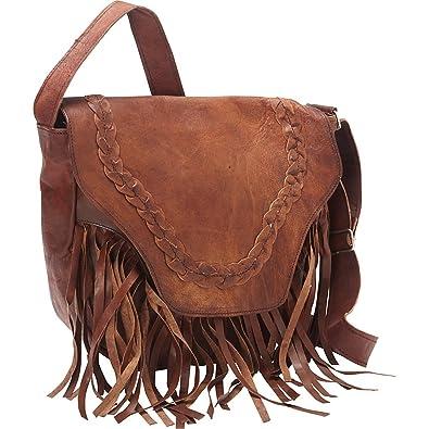 1996fbd2b1c9 Sharo Leather Bags Leather Fringed Western Cross Body Bag (Dark Brown)