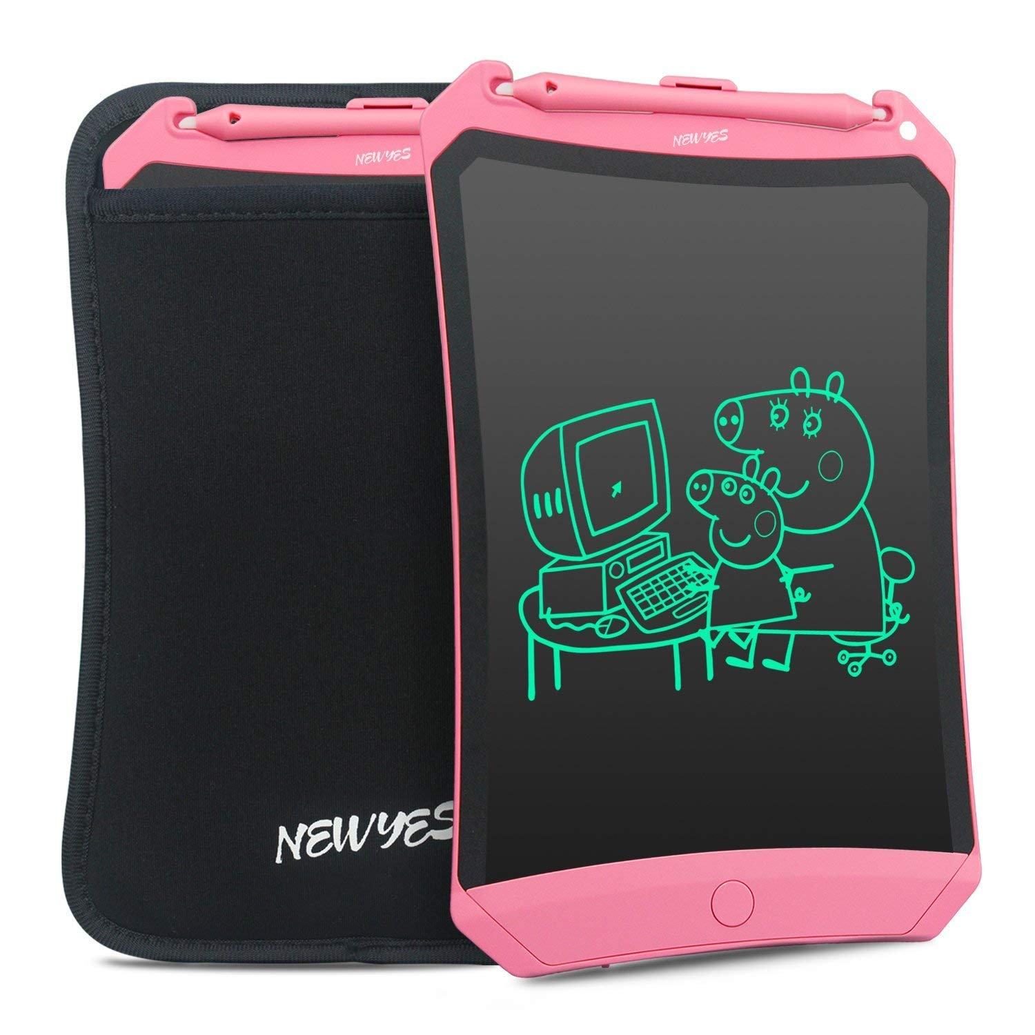 Newyes Robot pad 8.5 Inch LCD Writing Tablet Electronic Writings Pads Drawing Board Gifts for Kids Office Blackboard (Pink with case)