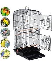 Yaheetech Gabbia per Uccelli Pappagalli Voliera per Uccellini in Metallo e Legno con Posatoi e Ciotole 46 x 36 x 92 cm Nera