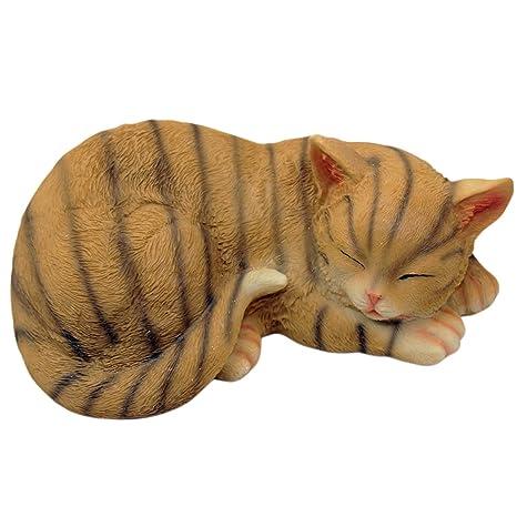1Plus poliresina figuras Jardín Figura de gato durmiendo, pintado a mano, resina Animales Decoración