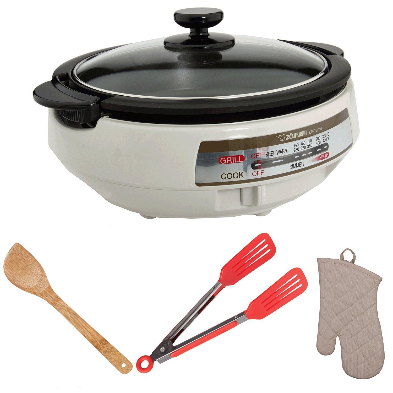 Zojirushi EP-PBC10 Gourmet d'Expert Electric Skillet with Beechwood Tool Set + Tongs + Oven Mitt Bundle