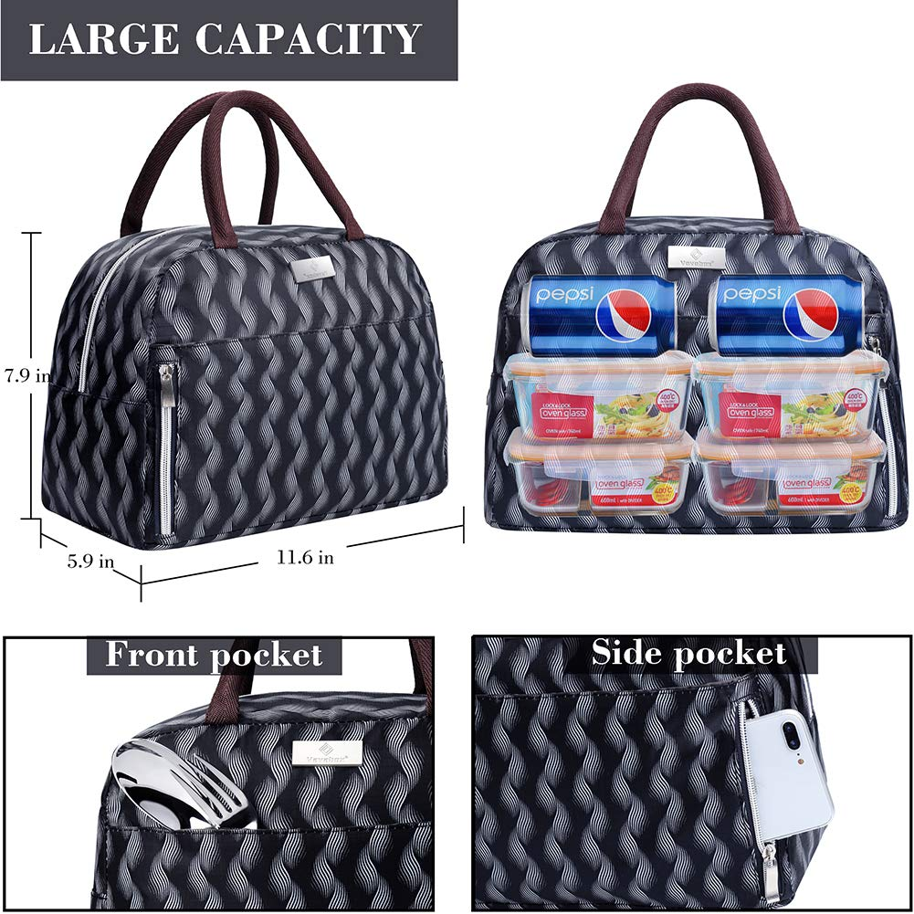 Lunch Bag Insulated Lunch Box Tote Bag Lunch Organizer Lunch Holder For Women/Men/Beach/Party/Boating/Office/Fishing/Picnic(Black)