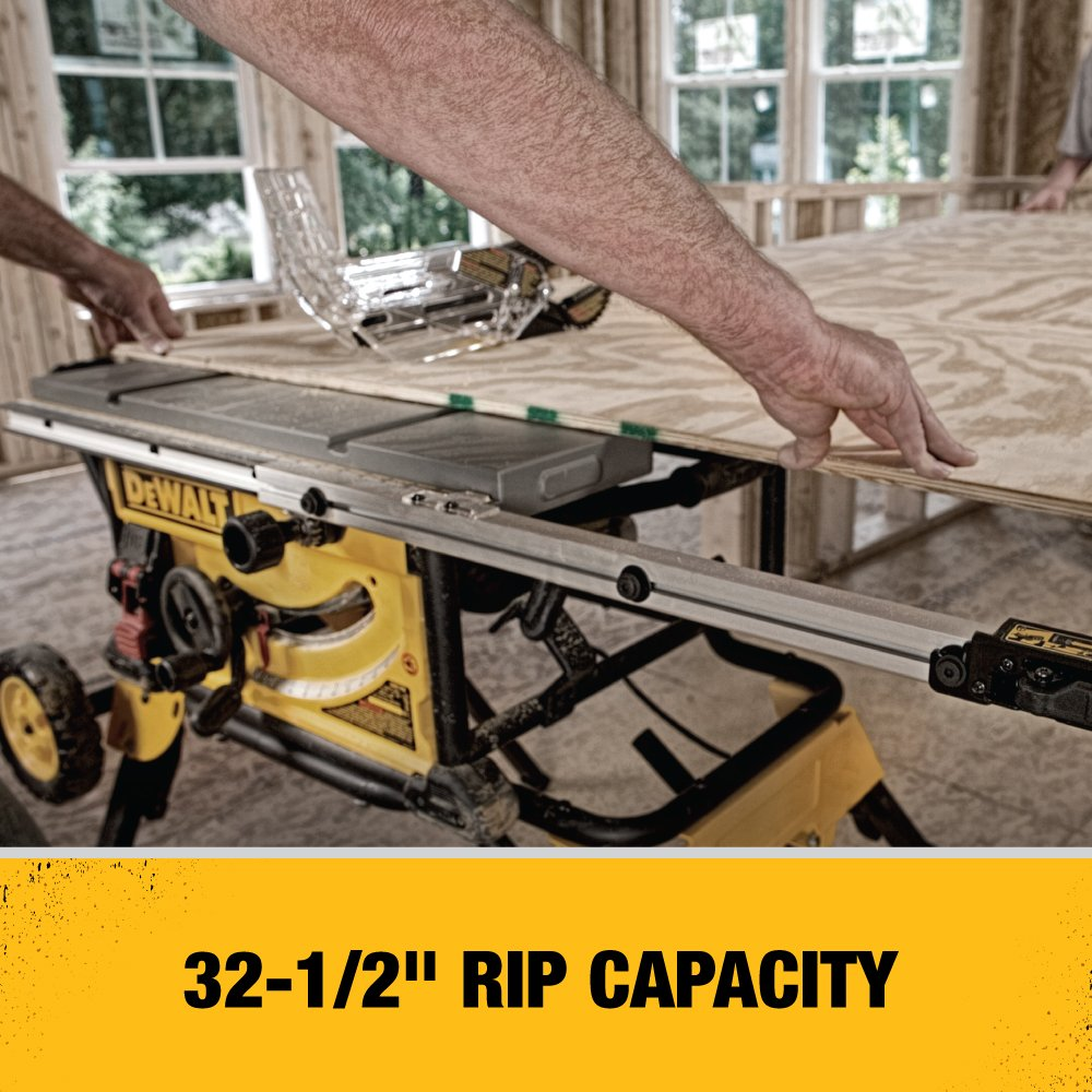 Dewalt Dwe7491rs 10 Inch Jobsite Table Saw With 32 1 2 Rip Dw744 Wiring Diagram Capacity And Rolling Stand Power Saws