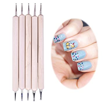 Bronagrand 5 Pcs Two Way Design Tools Wood Dotting Pen Setnail Art