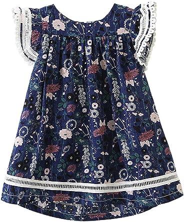 ARAUS Vestido Estampado Falda Niñas Cintura Alta con Volantes Bebé ...