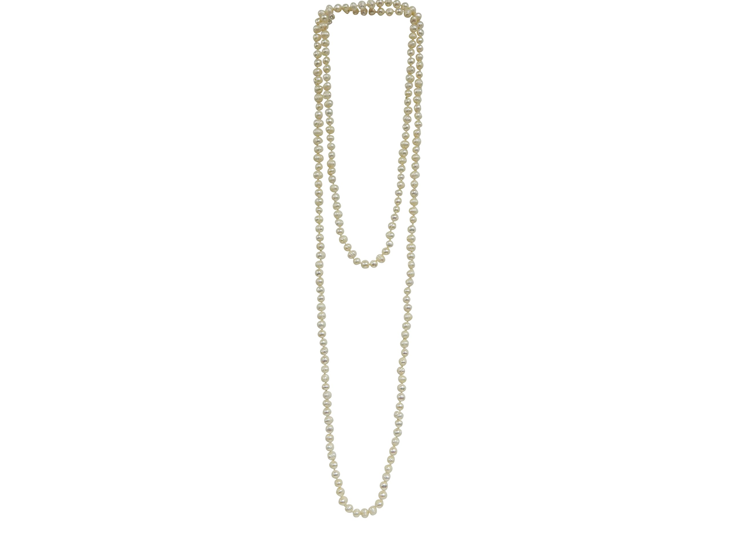 OPERA PEARL STRAND 35'' Long Flapper Necklace 8-9mm White Freshwater Pearls GIFT BOXED