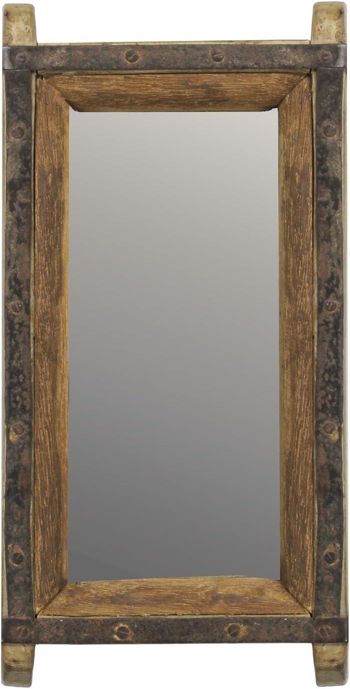 MY SWANKY HOME Vintage Wood Brick Mold Wall Mirror | Hanging Rustic Art