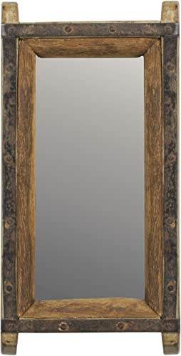 MY SWANKY HOME Vintage Wood Brick Mold Wall Mirror Hanging Rustic Art