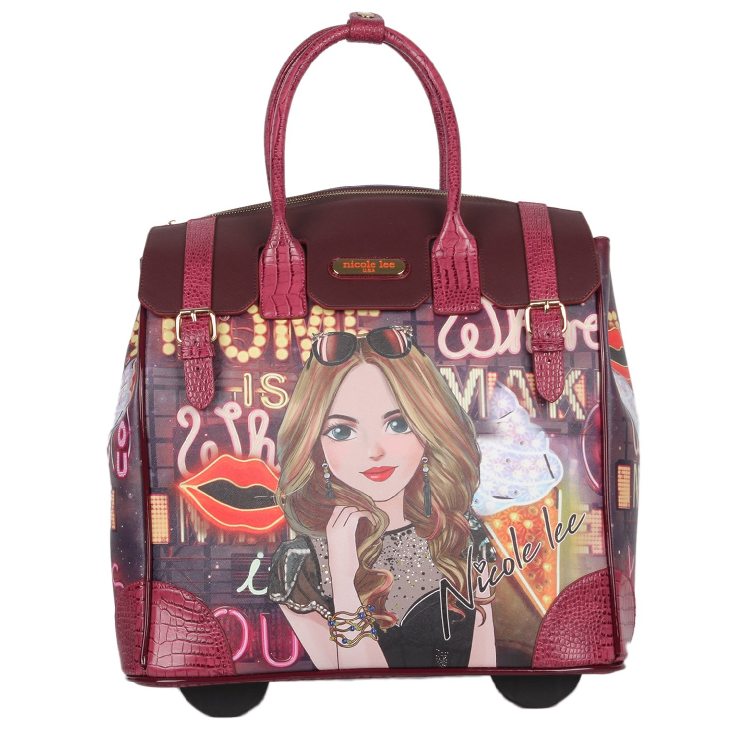 Nicole Lee Women's Fashion [Purple] Print Rolling Business Laptop Compartment Travel Tote, Girl's Night Out, One Size