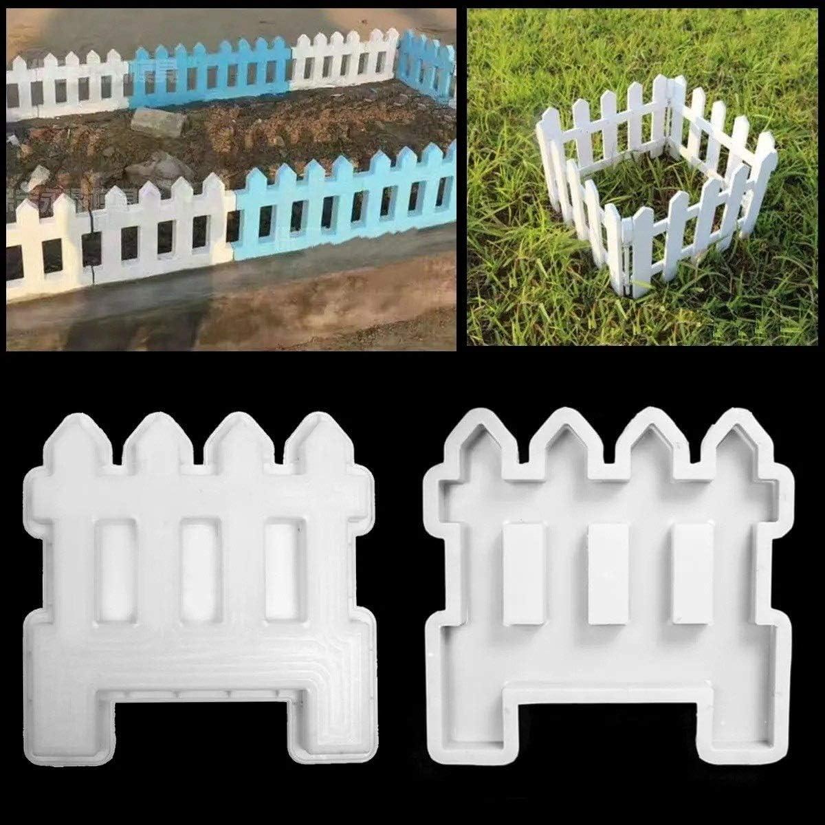 ZIEO Valla/Pared Jardín Antiguo Cemento Cerca concreto Molde del Molde de la Flor de la Piscina de Ladrillos de plástico del césped Yard Craft decoración en Blanco Valla de césped: Amazon.es: Hogar