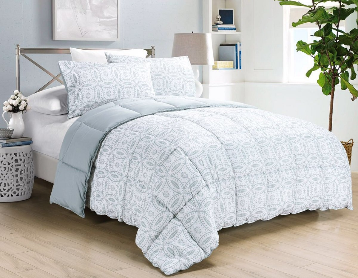 Dayton by Chezmoi Collection 3-pc Down Alternative Comforter Set Reversible Light Steel Blue Medallion Floral Pattern