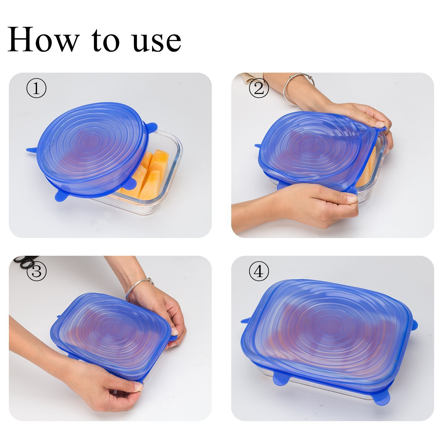 Ali-Mak 6 Pack Silicone Stretch Lids Universal Tupperware Lids to Keep Food Fresh, Preserve Fruit, Cover Jars Dishwasher Safe, 6 Different Sizes, Silicone Food Covers for Cans, Bowls, Plates, Mugs