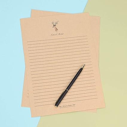 GOOTRADES 100 Feuilles A4 Papier /à Lettres Kraft R/étro Nostalgique Bureau Ligne Horizontale Stationnaire Vide R/égl/é pour Lettre Personnalis/ées Paroles Po/èmes Cr/éatifs Notes