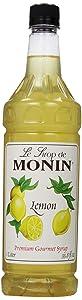 Monin Flavored Syrup, Lemon, 33.8-Ounce Plastic Bottles (Pack of 4)