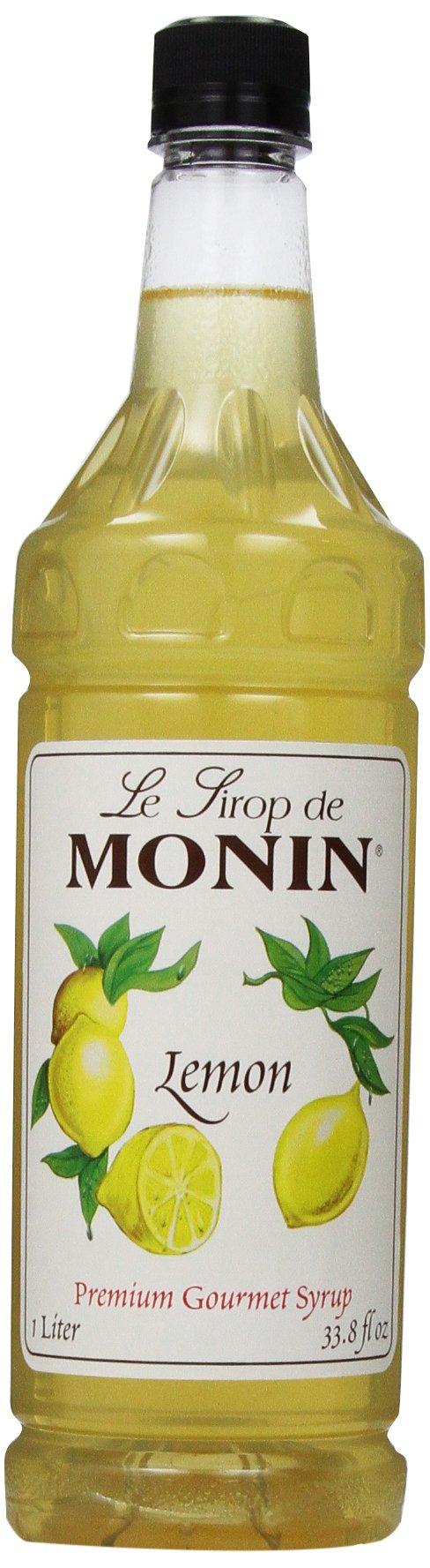 Monin Flavored Syrup, Lemon, 33.8-Ounce Plastic Bottles (Pack of 4) by Monin