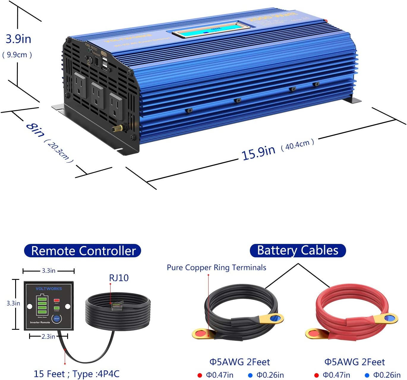 Power Inverter 2000w DC 12V to AC 120V Modified Sine Wave Inverter with 3AC Outlets Dual 2.4A USB Ports Remote Control LCD Display for Car RV Truck Boat: Electronics