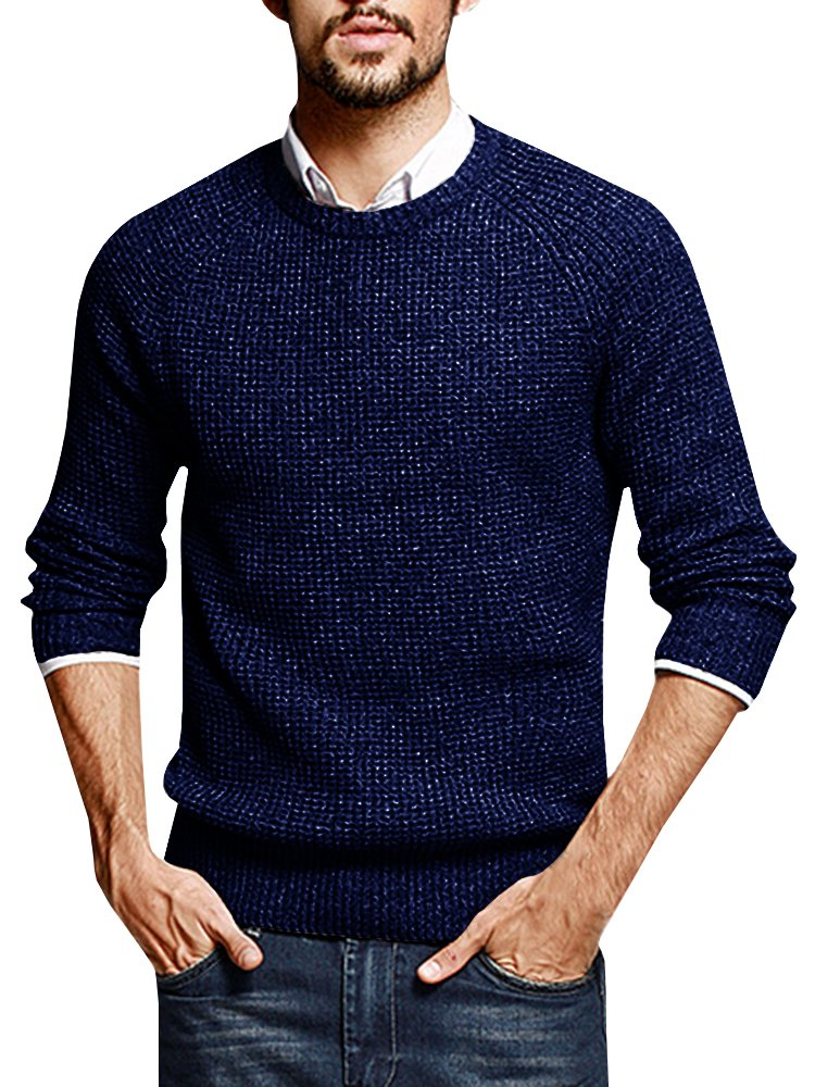 Puwany Mens Casual Pullover Sweater Long Sleeve Knitted Crew Neck Solid Pullover