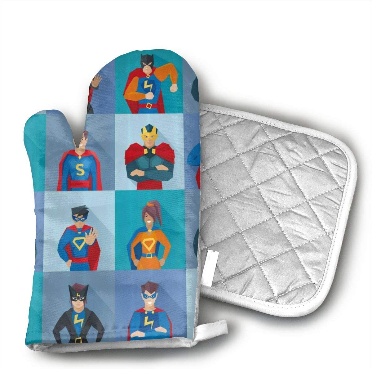 EROJfj Superhero Character Comic Humor Oven Mitts and Potholders BBQ Gloves-Oven Mitts and Pot Holders Non-Slip Cooking Gloves for Cooking Baking Grilling