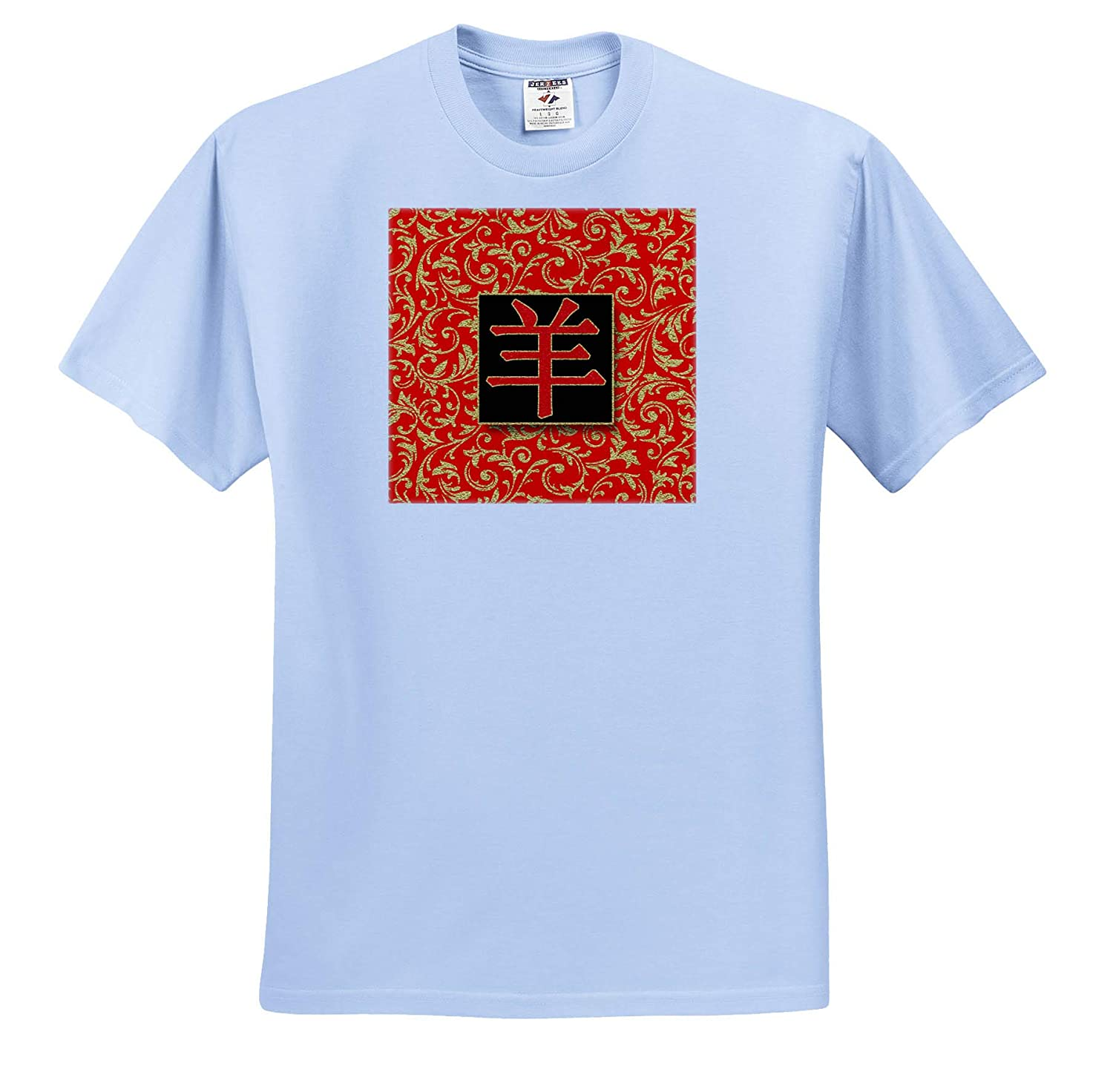 Chinese Zodiac Animal Character for Year of The Sheep Red and Gold 3dRose Doreen Erhardt Asian Collection T-Shirts