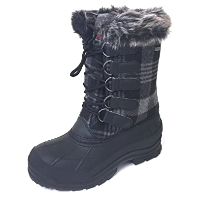G4U-CDS Women's Winter Boots Cold Weather Insulated Flannel Plaid Lace up Waterproof Snow Fur Duck Shoes | Boots