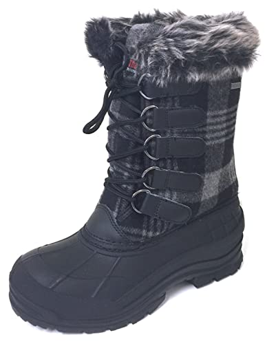 096d5985dc3c G4U-AC SC-D Women s Winter Boots Cold Weather Insulated Flannel Plaid Lace  up