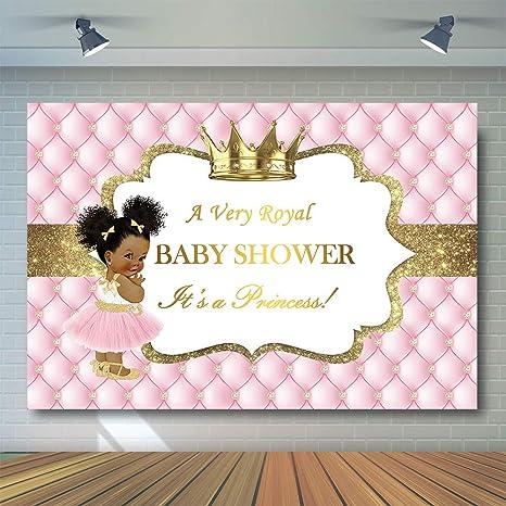 14d0e5bf COMOPHOTO Royal Princess Baby Shower Photography Backdrop Gold Crown Little  Princess Royalty Diamond Pink Photo Booth