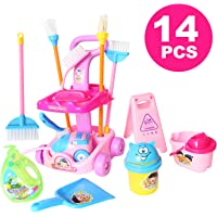 """14 Piece 9.5"""" Mini Cleaning Cart Playset Household Appliances Tools Pretend Play Set Vacuum Cleaner Cleaning Trolley for Kids Cleaning Supplies Toys Broom, Mops, Brushes, Caution Sign"""
