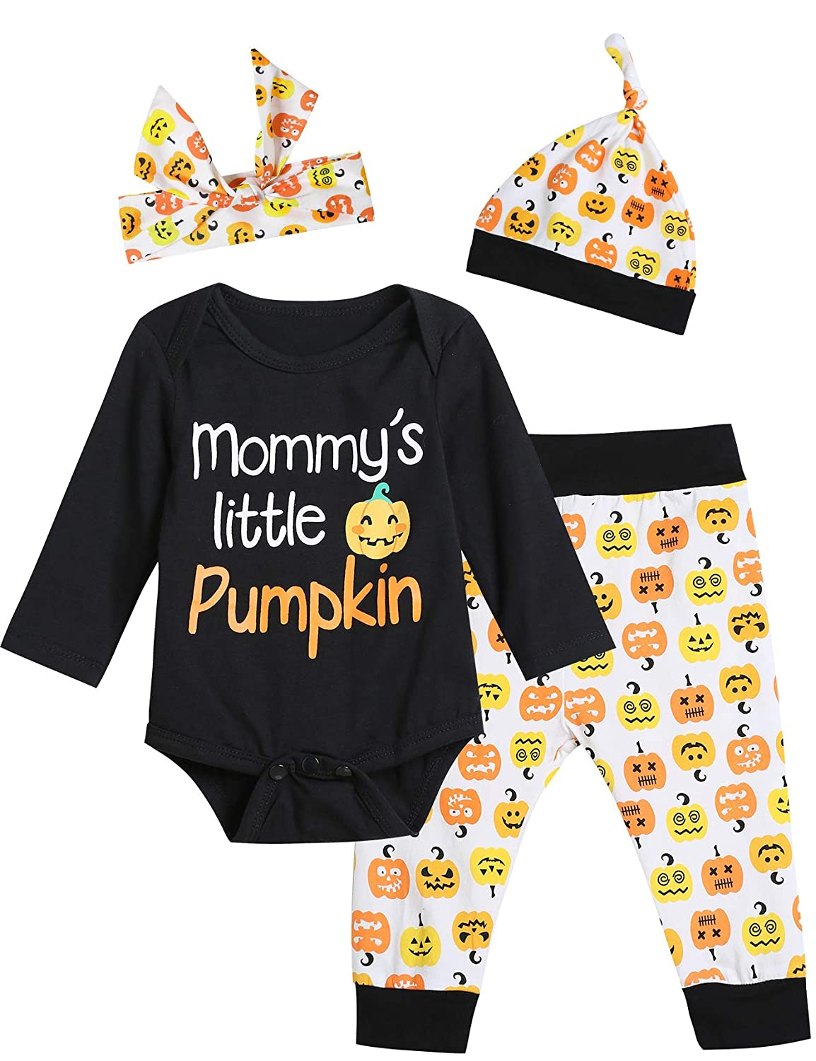 Baby Boys Girls 4PCS Halloween Outfit Sets Mommy's Little Pumpkin Long Sleeve Bodysuit