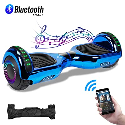 "CBD Hoverboard for Kids, 6.5"" Electric Self Balancing Scooter, Hoverboard with Bluetooth Speaker and LED Lights, UL 2272 Certified Hover Board (Bluetooth Chrome Blue): Sports & Outdoors"