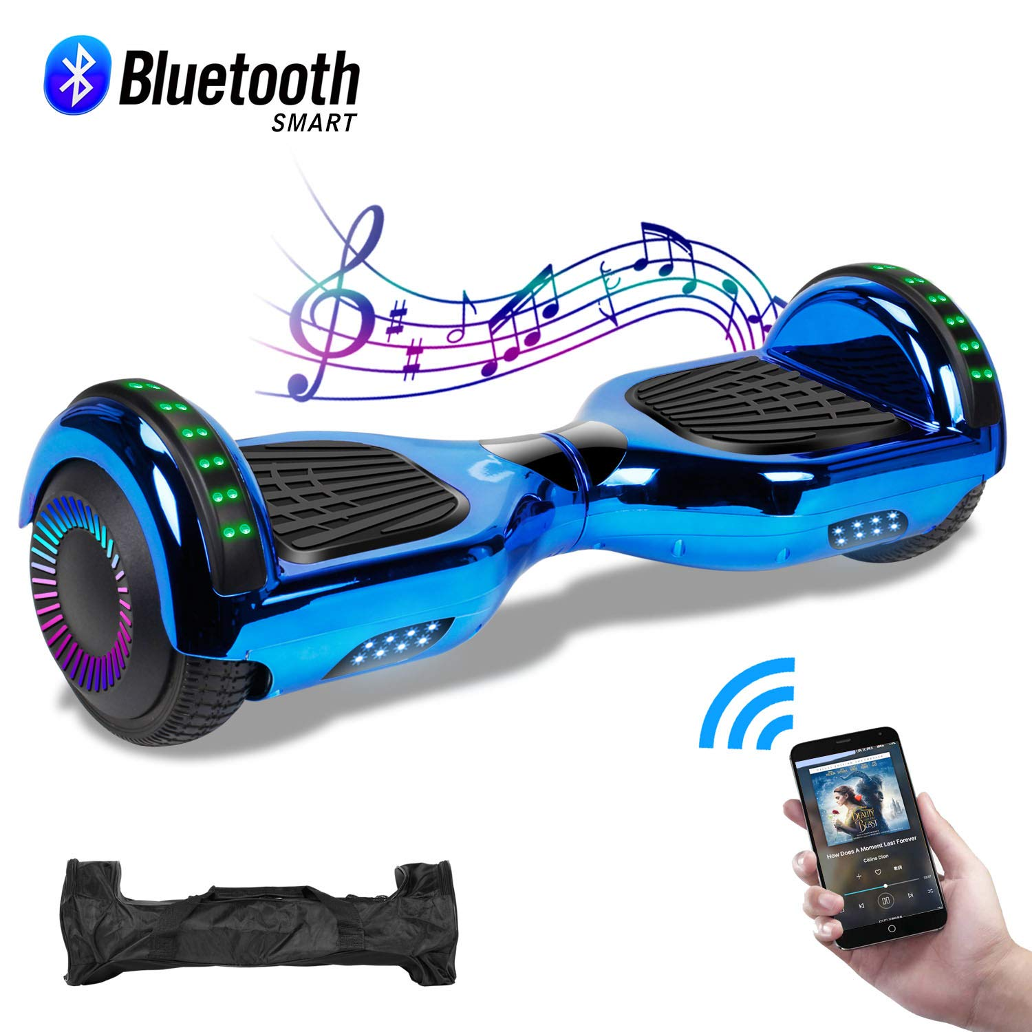 CBD 6.5'' Hoverboard with Bluetooth Speaker, Self Balancing Hoverboard for Kids with LED Lights, UL 2272 Certified, Chrome Blue by CBD