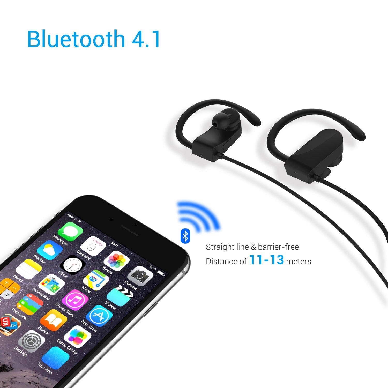 Auriculares Bluetooth Deportivos, chnano inalámbrico 4.1 auricular con micrófono resistente al sudor a prueba de ruido compatible iPhone/Samsung/Huawei ...