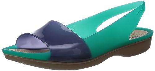 Colorblock Crocs Zapatos Talã³n Y De es Abierto Plana Amazon pqqrAxwCd