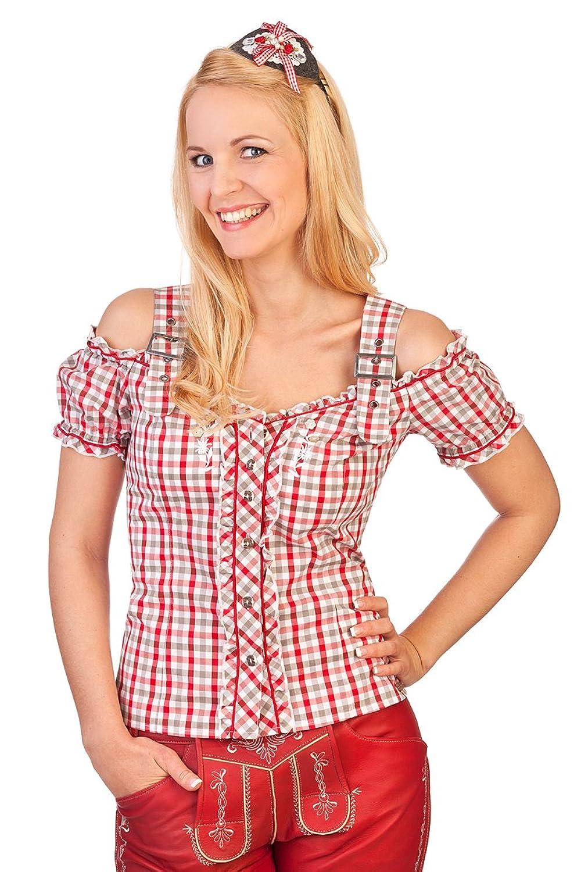 Trachten Bluse im Carmenstil - PLOCHINGEN - grün, rot