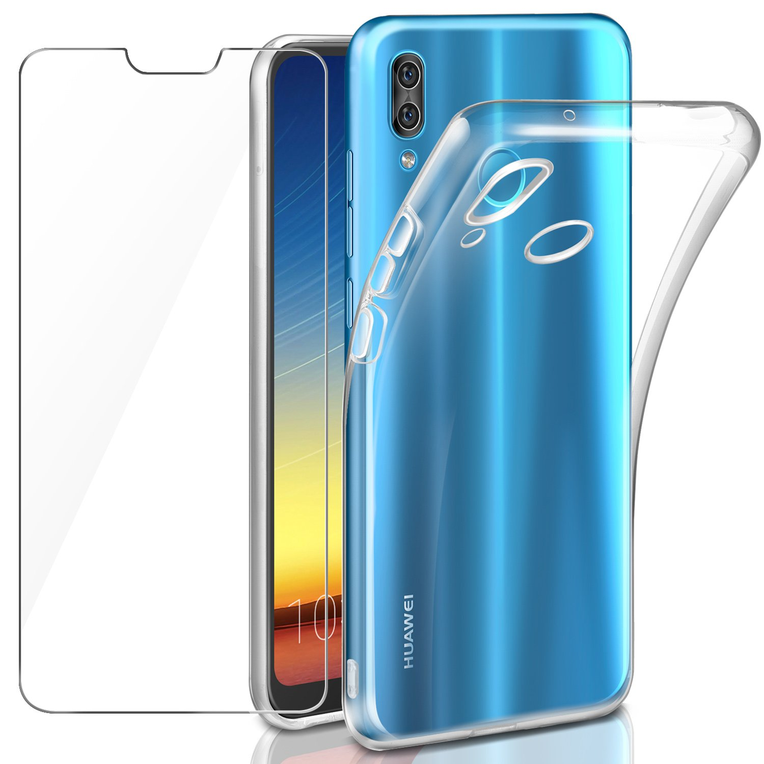 Huawei P20 Lite Protective Case + Tempered Glass Protective Film, Leathlux Soft Transparent Silicone Protective TPU Gel Slim Cover for Huawei P20 Lite / Huawei P11 Lite 5.84 ""